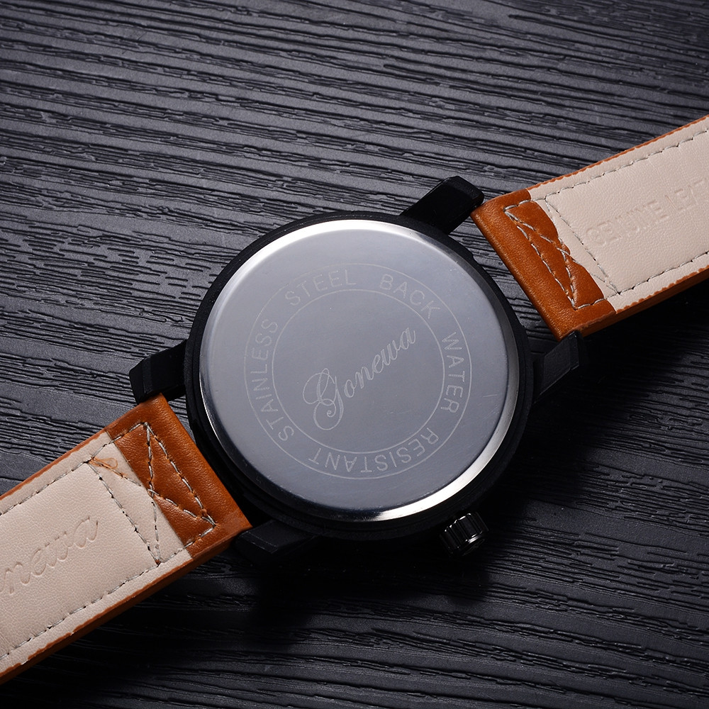 GON011 Men Leather Band Blue Mirror Quartz Watch BROWN