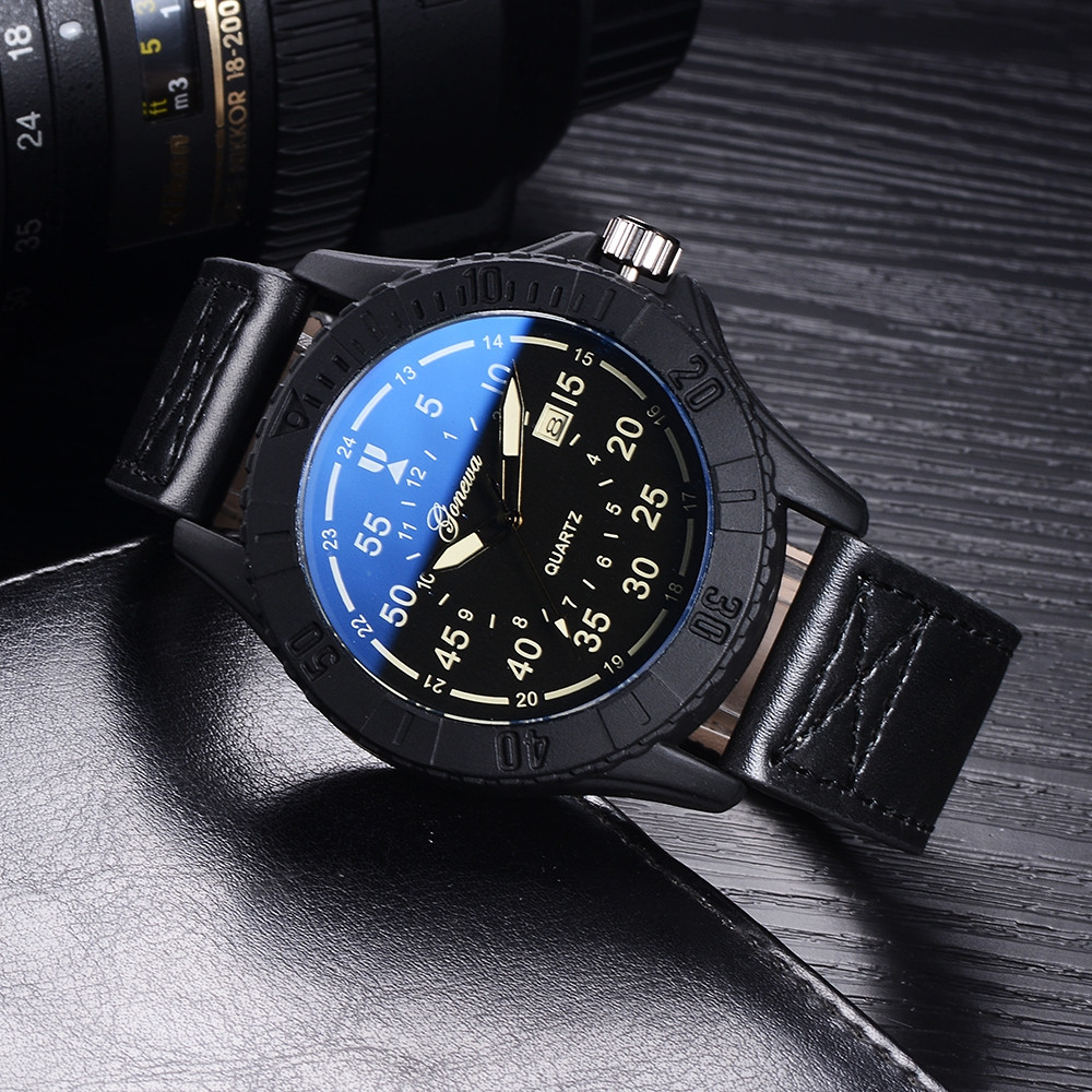 GON010 Men Leather Band Blue Mirror Wrist Watches BLACK