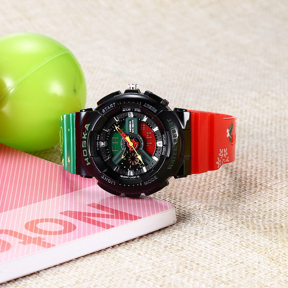 HOSKA HD038S Double Movt Sports Wristwatch for Children RED AND GREEN
