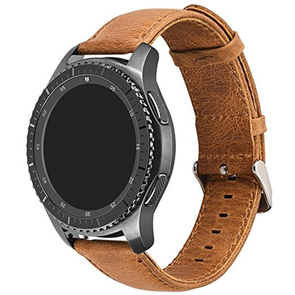 Genuine Leather Retro Cowhide Smart Watch Band with Quick Release Pin for Samsung Gear S3 Frontier / Classic LIGHT BROWN