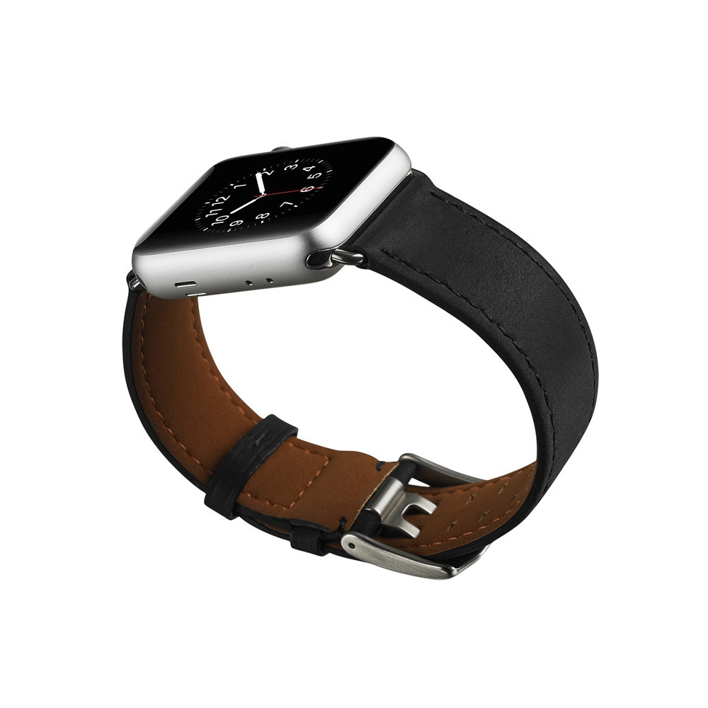 42mm Genuine Leather Watch Band Watch Bracelet for Apple Watch Series 1/2/3 Silica Gel to Protect Shell BLACK