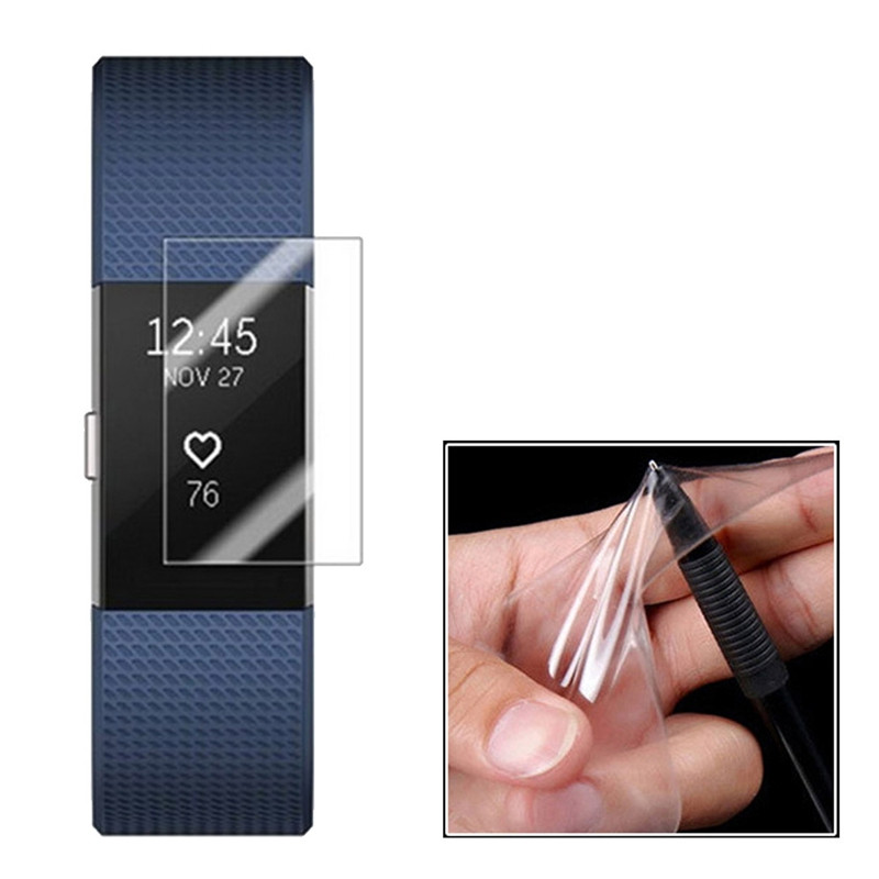 2pcs Ultra Thin HD Scratch Resistance TPU Screen Protector Protective Guard Film for Fitbit Charge 2 CLEAR WHITE