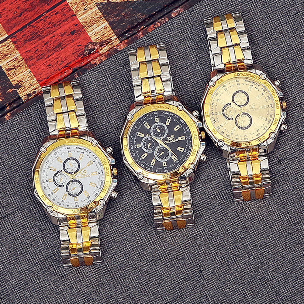 Fashion Casual Large Dial Stainless Steel Analog Military Watch MULTI-A