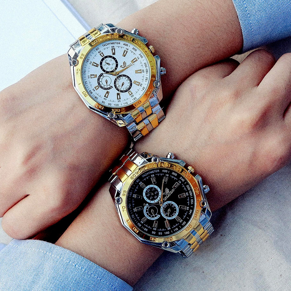 Fashion Casual Large Dial Stainless Steel Analog Military Watch MULTI-B
