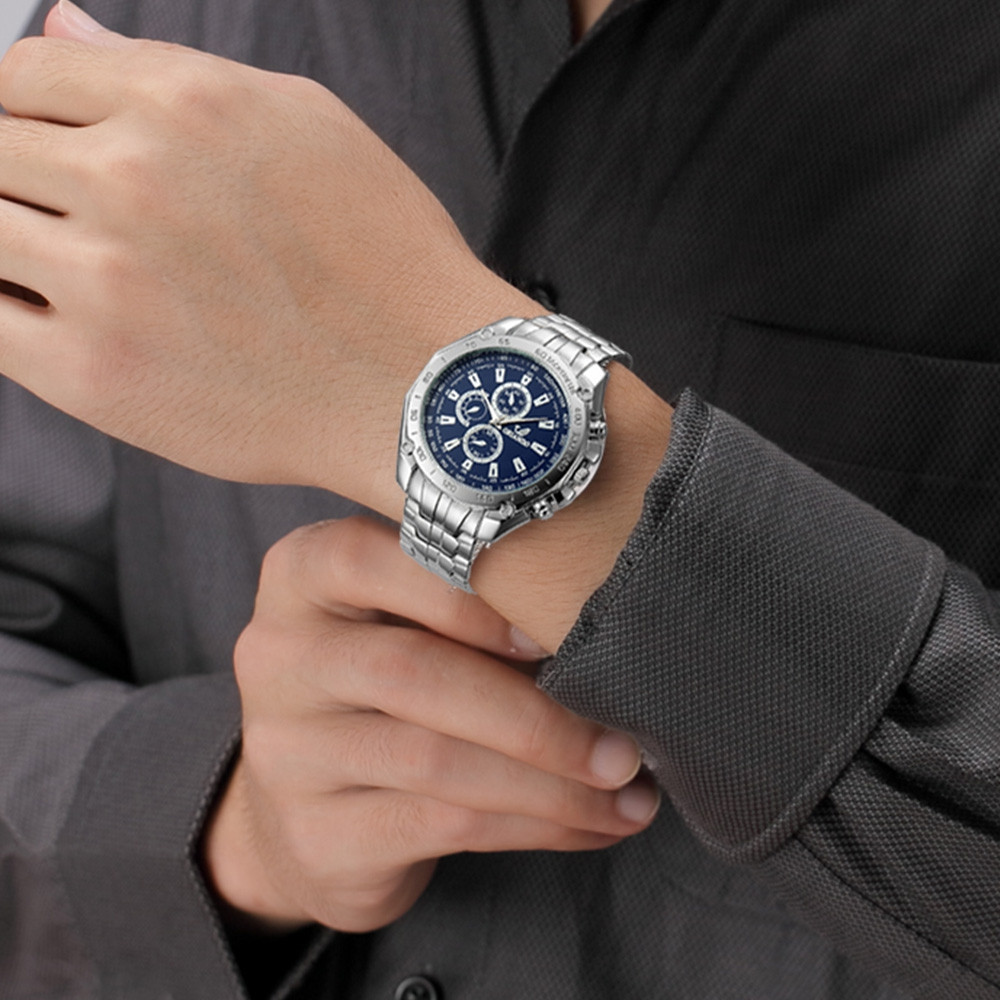 Fashion Casual Large Dial Stainless Steel Analog Military Watch BLUE