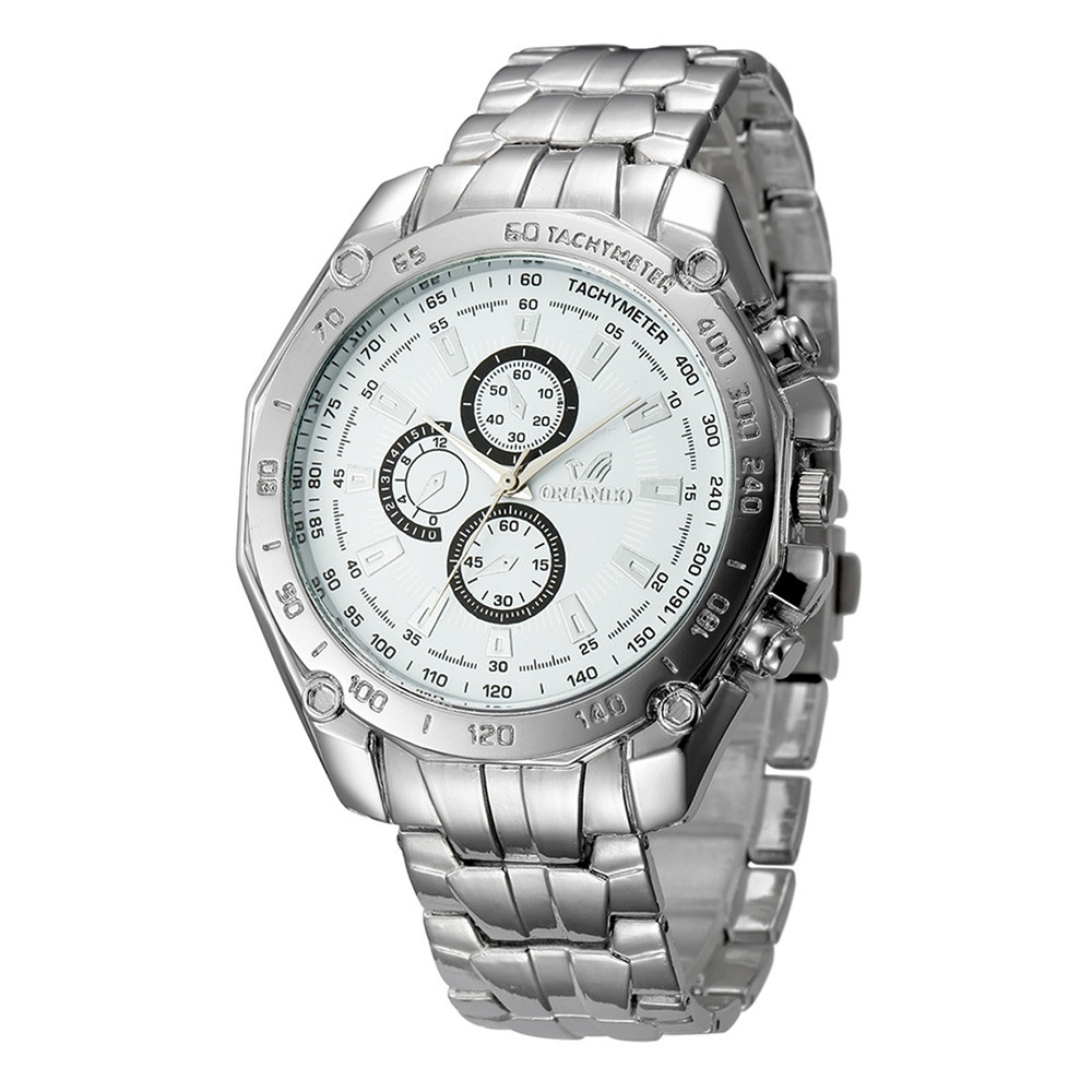 Fashion Casual Large Dial Stainless Steel Analog Military Watch WHITE