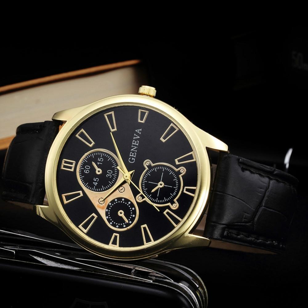 Geneva New Men Business Leisure Quartz Watch BLACK