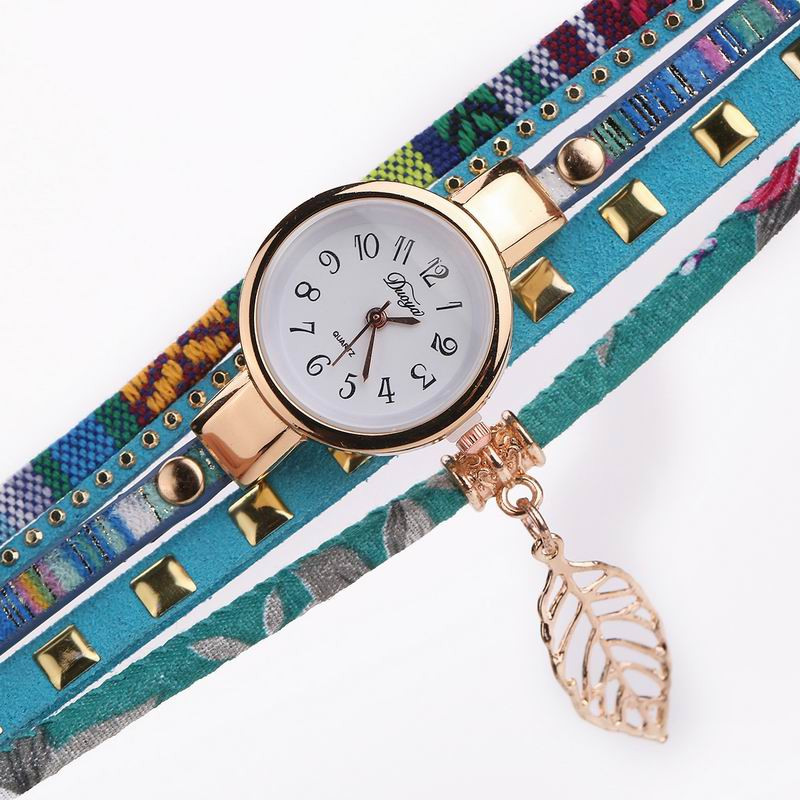 DUOYA D119 Women Ladies Arabic Numbers Braided Quartz Wrist Watch SKYBLUE