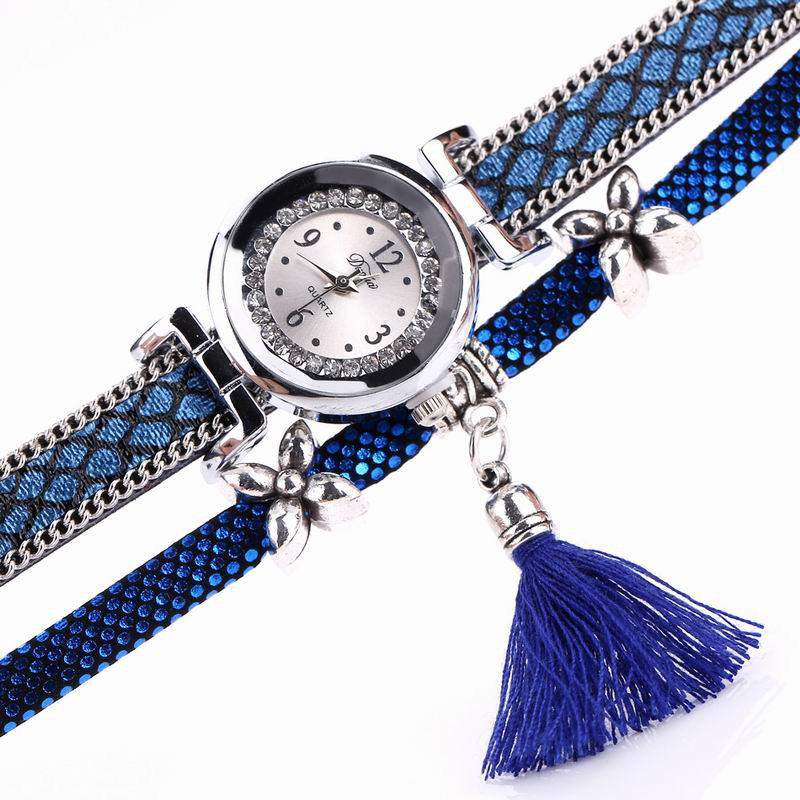 DUOYA D066 Women Wrap Around Tassel Bracelet Wrist Watch BLUE