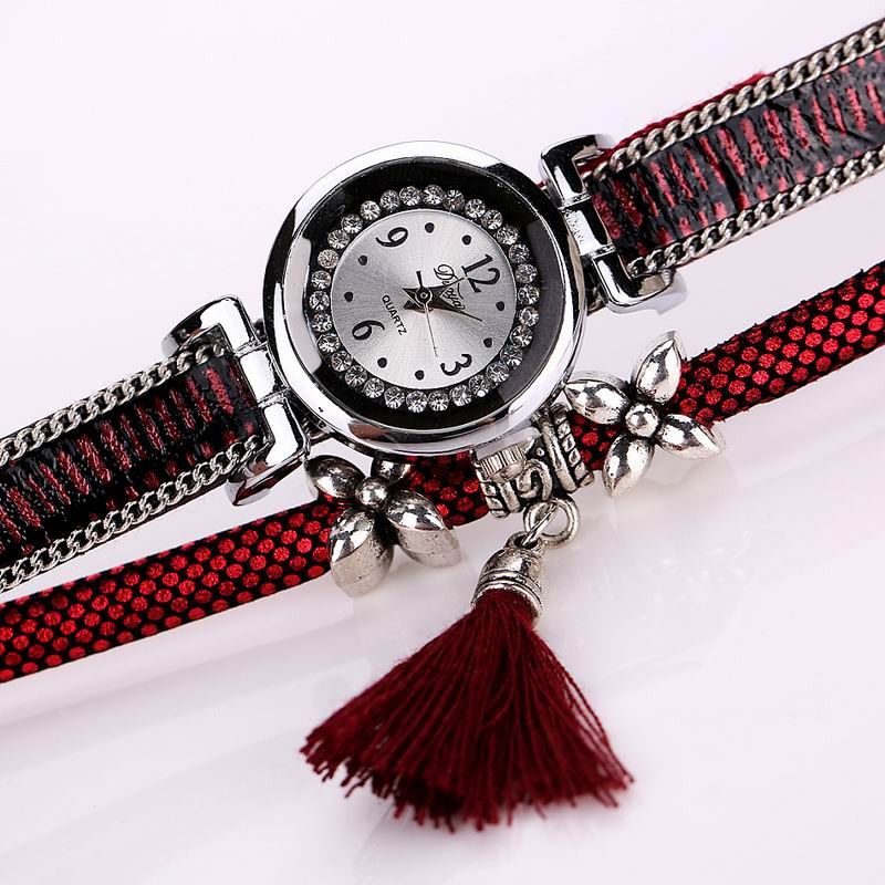 DUOYA D066 Women Wrap Around Tassel Bracelet Wrist Watch RED
