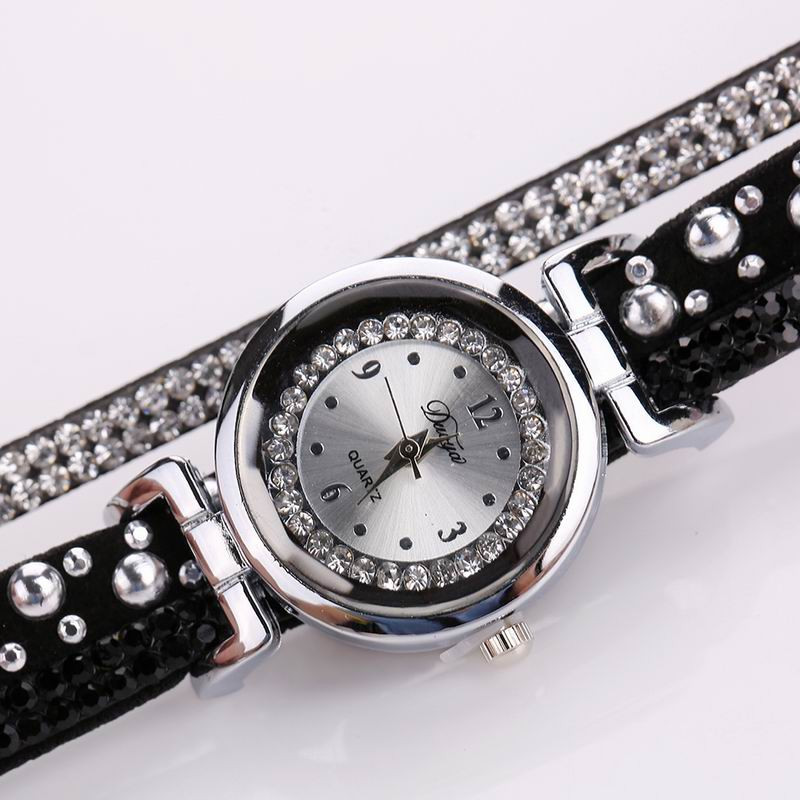 DUOYA D096 Women PU Leather Rhinestones Bracelet Wrist Watch BLACK