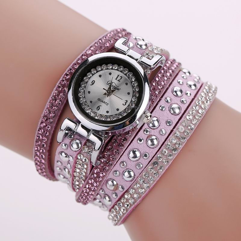 DUOYA D096 Women PU Leather Rhinestones Bracelet Wrist Watch PURPLE