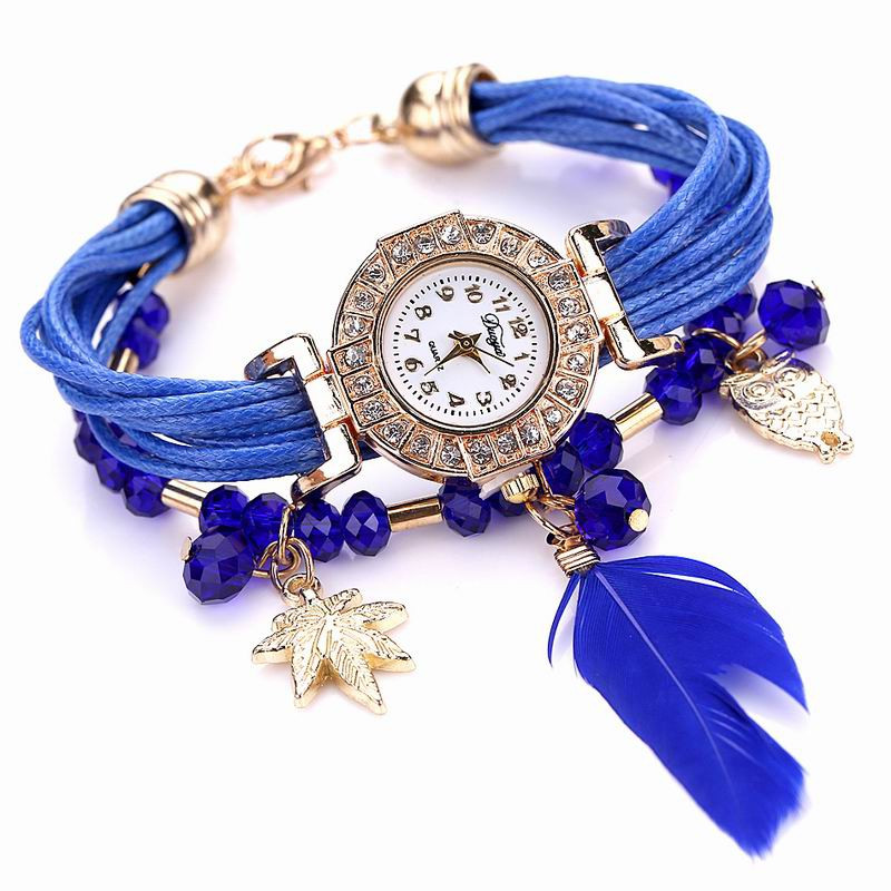 DUOYA D051 Women Beaded Analog Quartz Wrist Watch with Feather BLUE