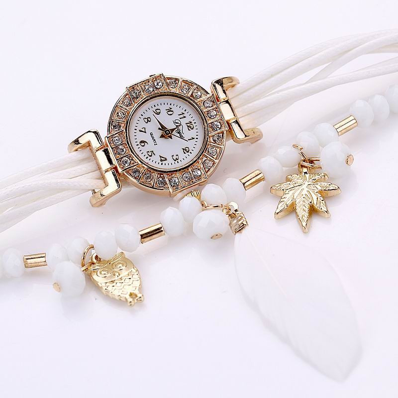 DUOYA D051 Women Beaded Analog Quartz Wrist Watch with Feather WHITE