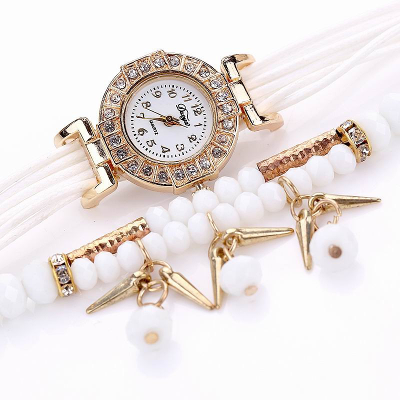 DUOYA D052 Women Ladies Beaded Analog Quartz Bracelet Wrist Watch WHITE