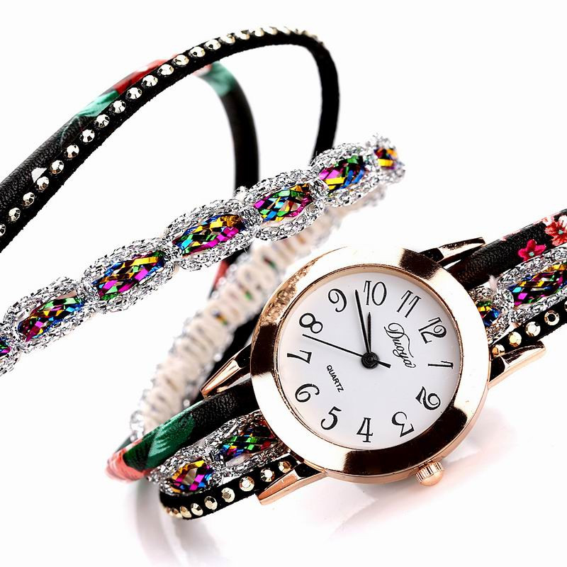 DUOYA D048 Women Wrap Around Floral Bracelet Wrist Watch BLACK