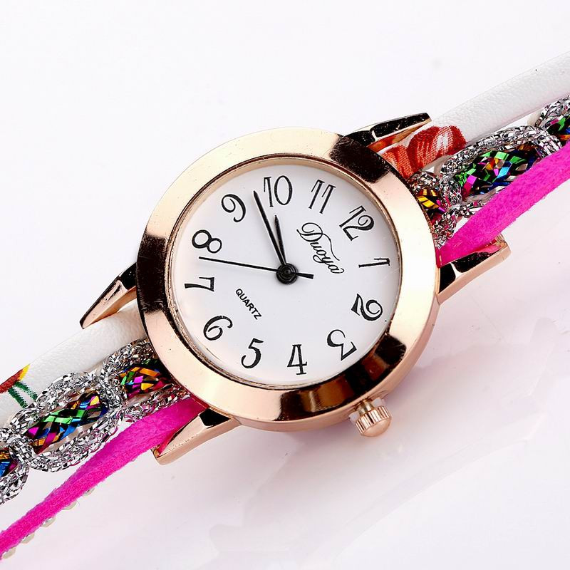 DUOYA D048 Women Wrap Around Floral Bracelet Wrist Watch ROSE RED