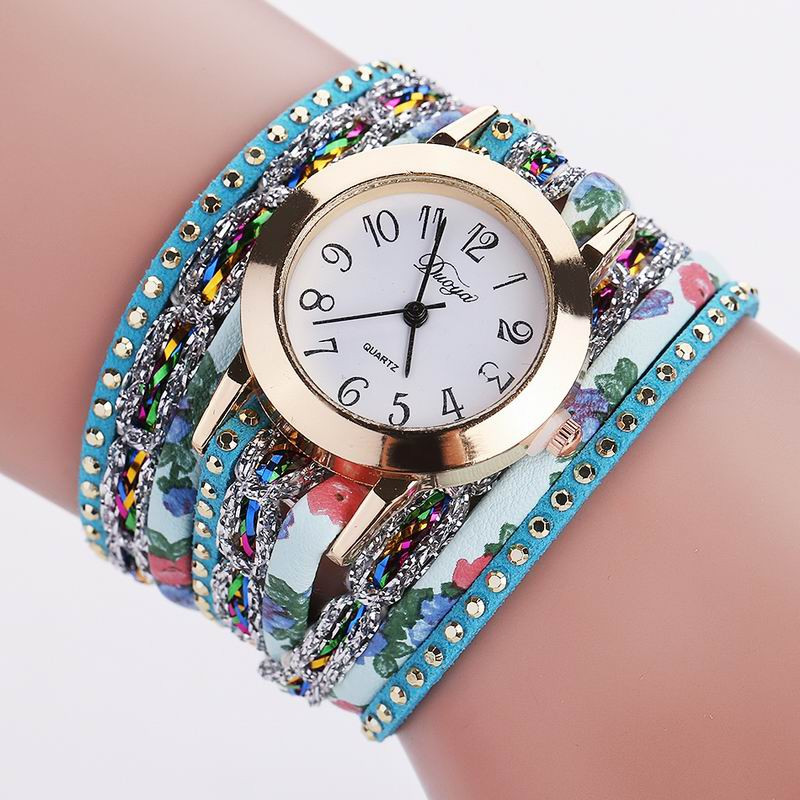 DUOYA D048 Women Wrap Around Floral Bracelet Wrist Watch BLUE