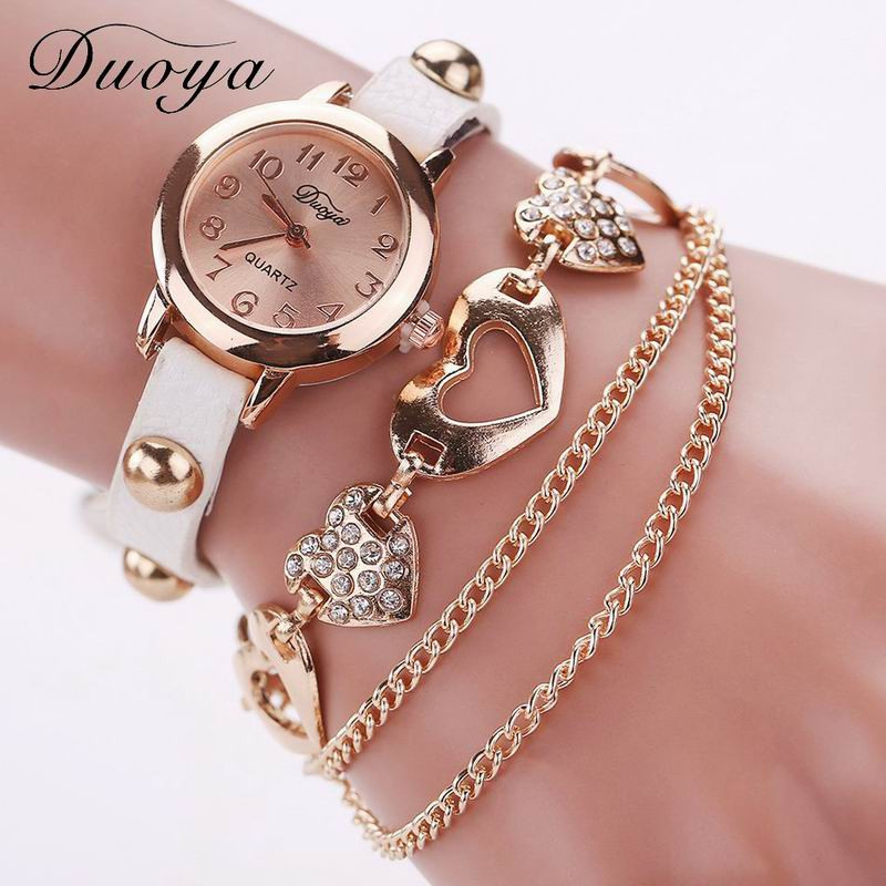 DUOYA D020 Women Heart Analog Quartz Chain Wrist Watch WHITE