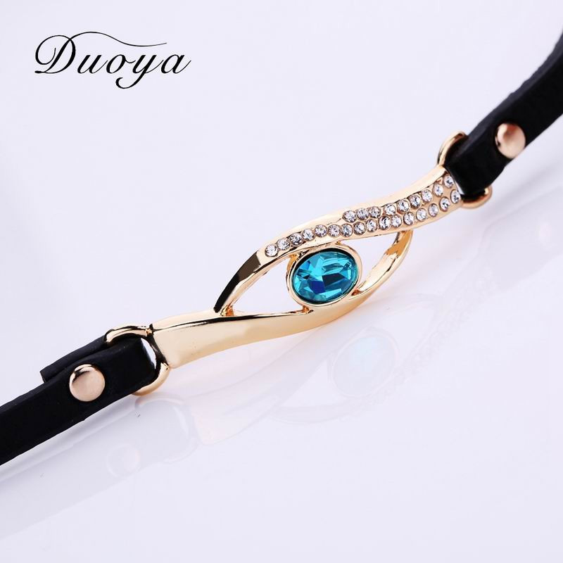 DUOYA D041 Women Wrap Around Leather Quartz Wrist Watch with Diamonds BLACK