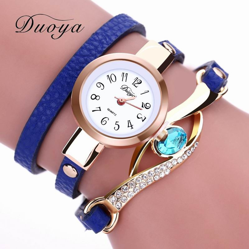 DUOYA D041 Women Wrap Around Leather Quartz Wrist Watch with Diamonds BLUE