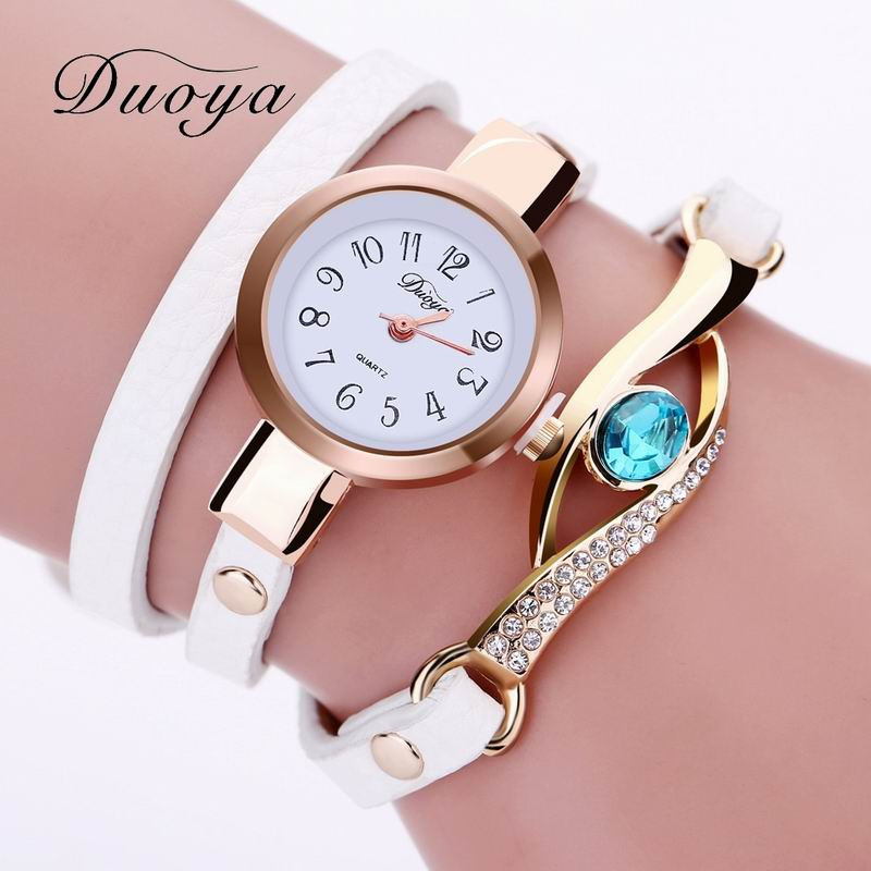 DUOYA D041 Women Wrap Around Leather Quartz Wrist Watch with Diamonds WHITE