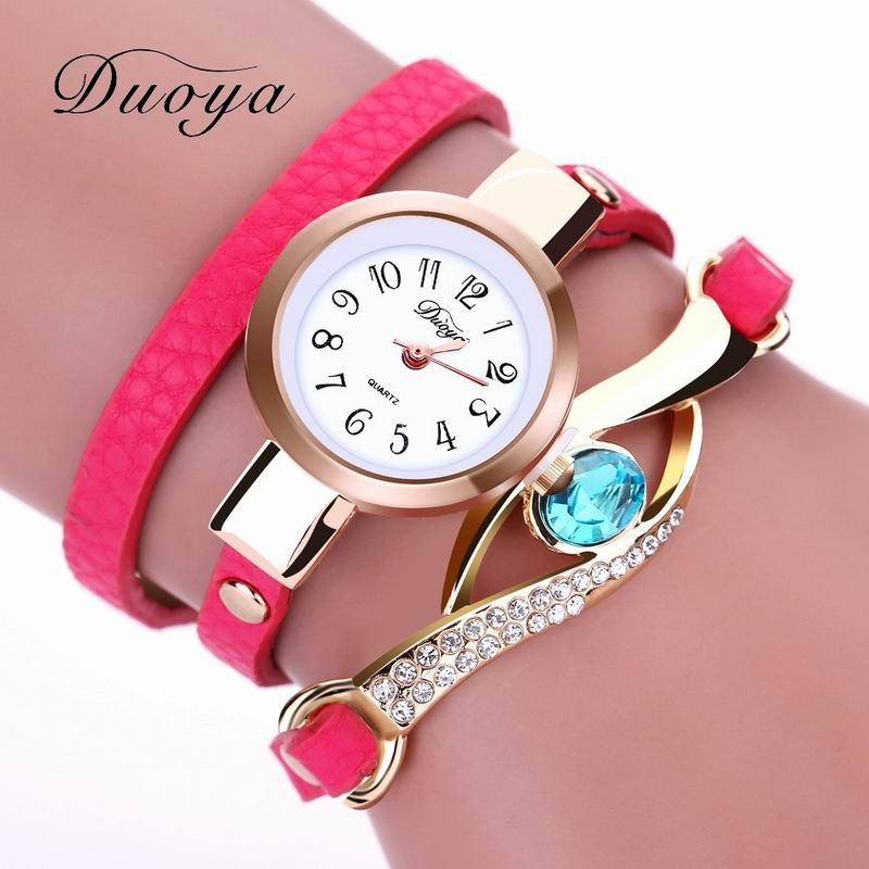DUOYA D041 Women Wrap Around Leather Quartz Wrist Watch with Diamonds ROSE RED