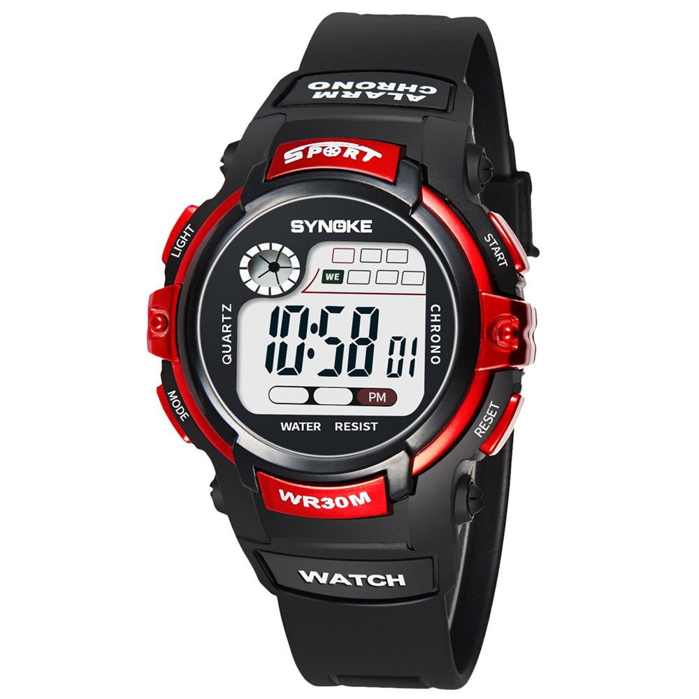 SYNOKE 99569 Luminous Waterproof Children Electronic Watch RED