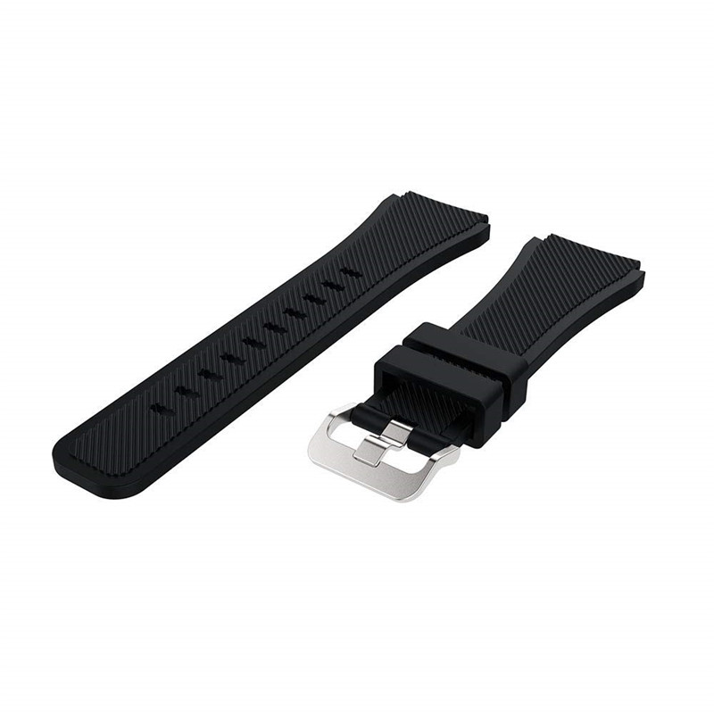 22MM Silicone Sport Strap Watch Band for Samsung Galaxy Watch 46mm SM-R800 BLACK