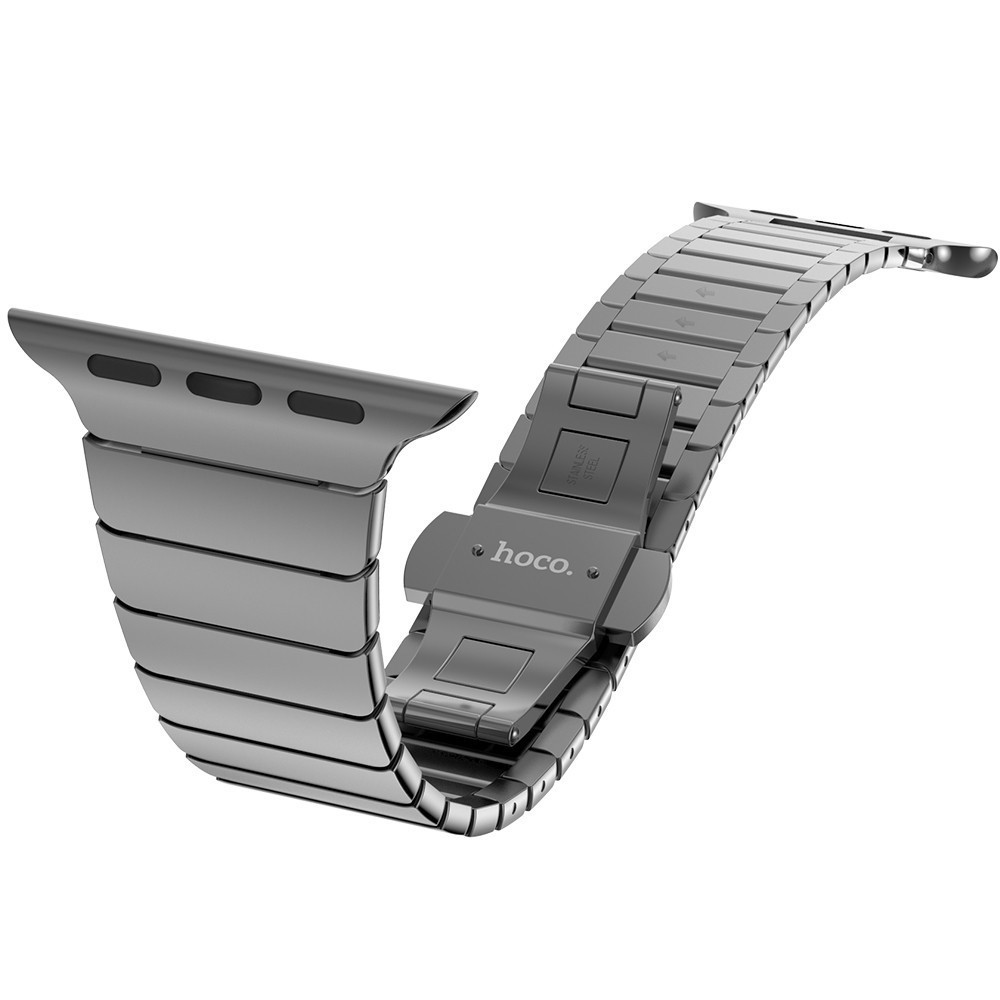 Luxury Watchband Metal Watch Strap for Apple Watch Band stainless Steel Link Bracelet 38 Mm Butterfly Loop BLACK
