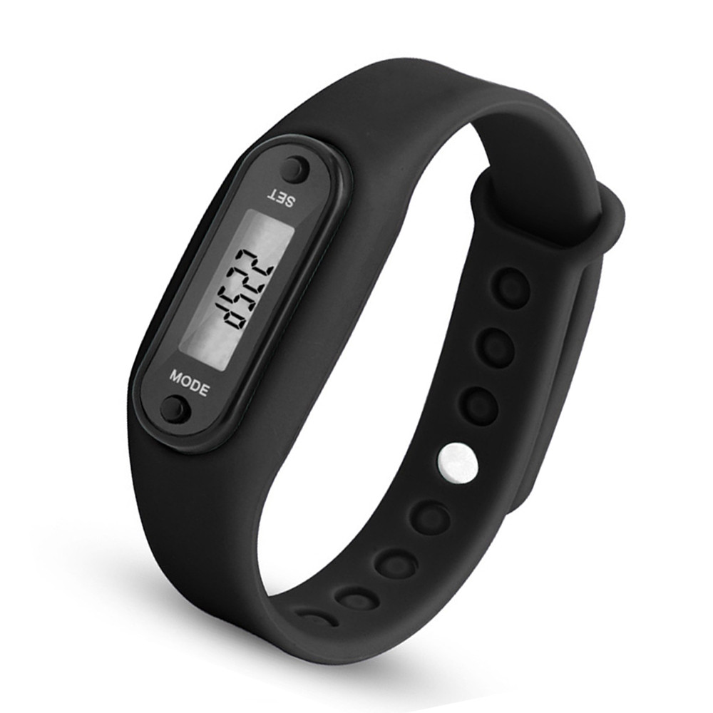 Digital LCD Silicone Band Pedometer Distance Calorie Counter Sport Watch BLACK