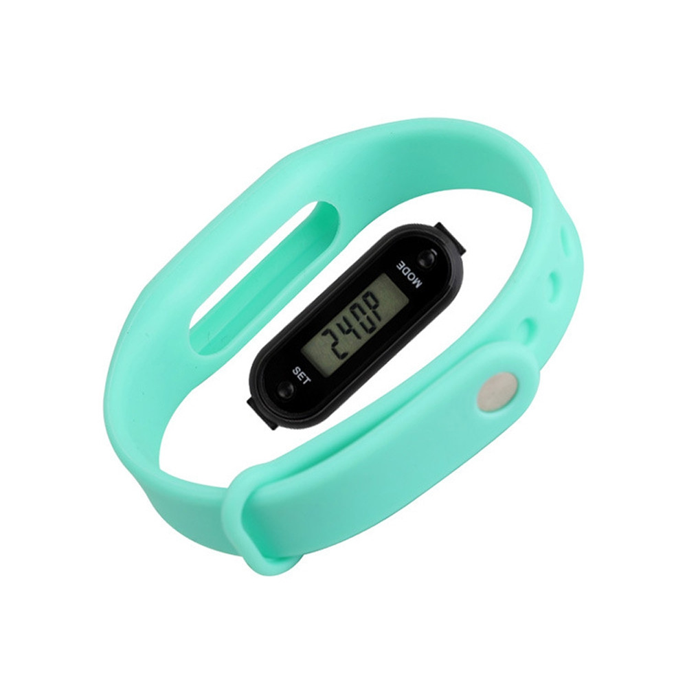 Digital LCD Silicone Band Pedometer Distance Calorie Counter Sport Watch LIGHT CYAN