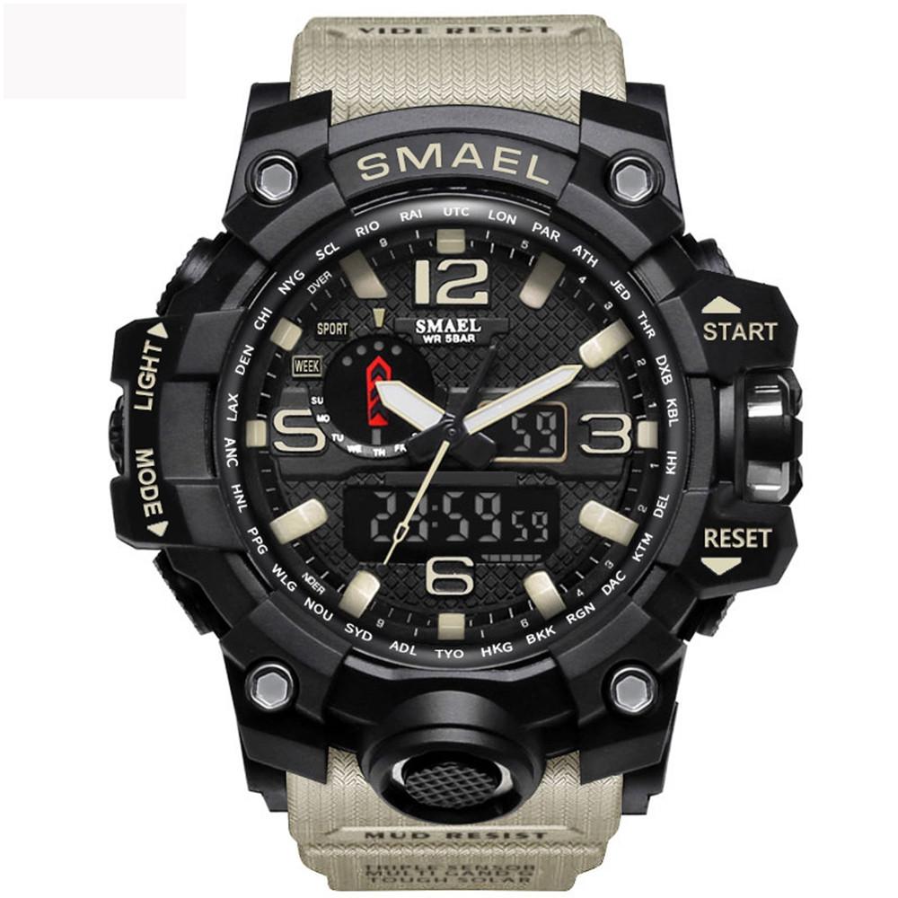 Mens Sports Watches LED Digital Clock Fashion Casual Watch Digital 1545 Relogio Militar Clock Men Sport Watch LIGHT KHAKI