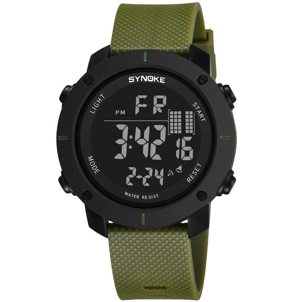 SYNOKE 9658 Outdoor Multifunction Large Dial Men Sports Electronic Watch FERN GREEN