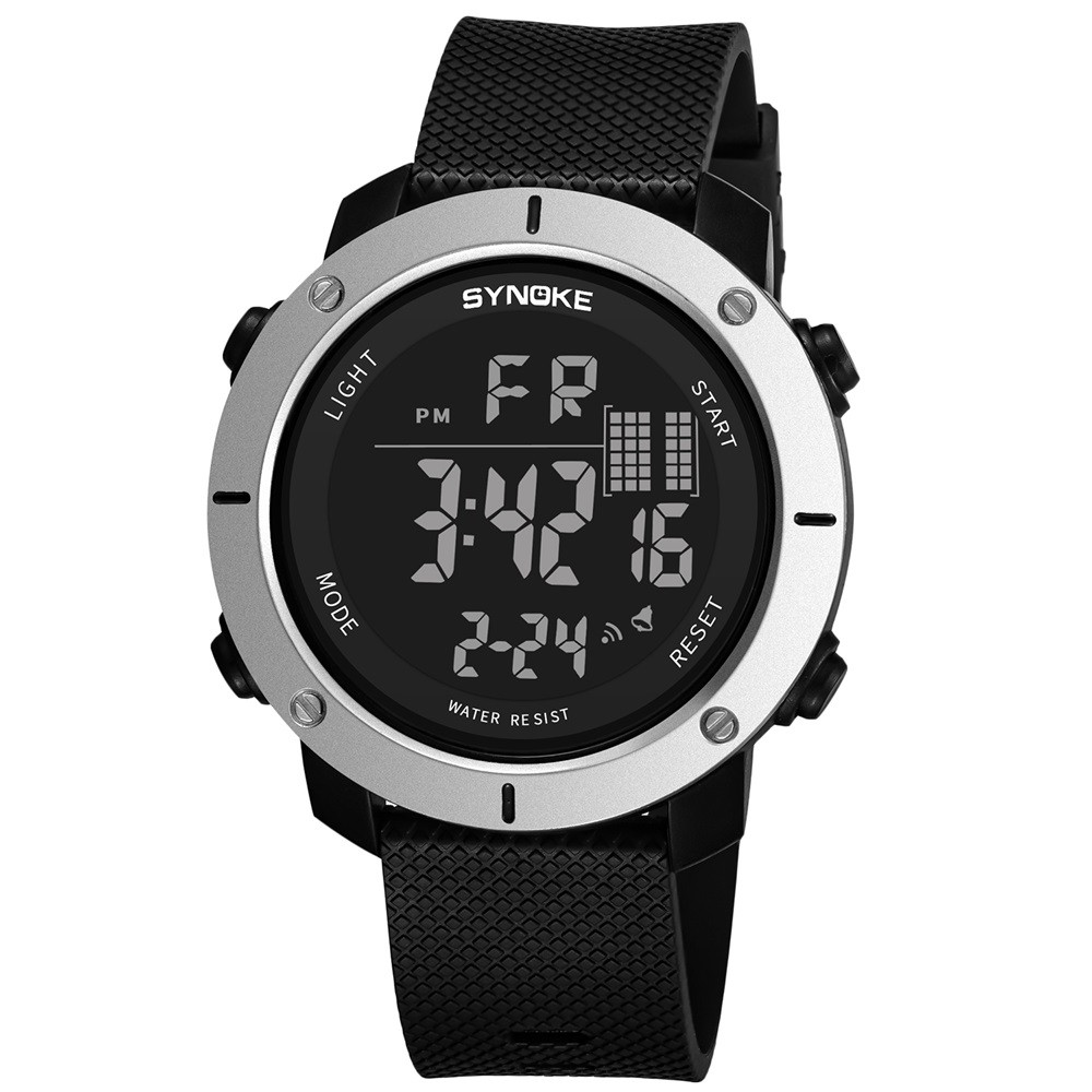SYNOKE 9658 Outdoor Multifunction Large Dial Men Sports Electronic Watch MILK WHITE