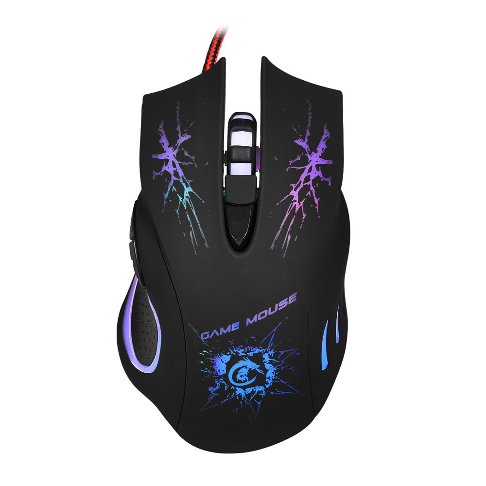 A888 5500 DPI Professional USB Wired Optical 6-Key Gaming Mouse with Colorful Light