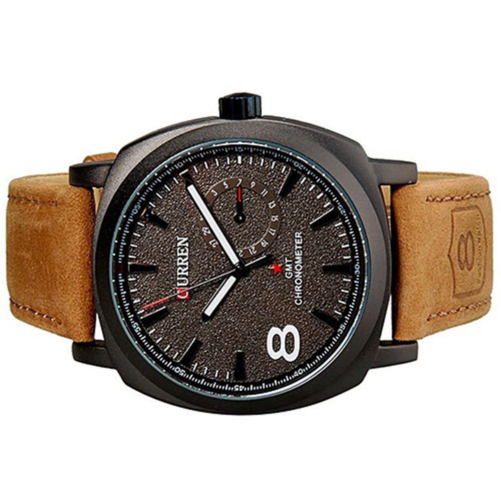 Delicate Chic CURREN Unisex Men's Stylish Quartz Analog Leather Wrist Watch BLACK