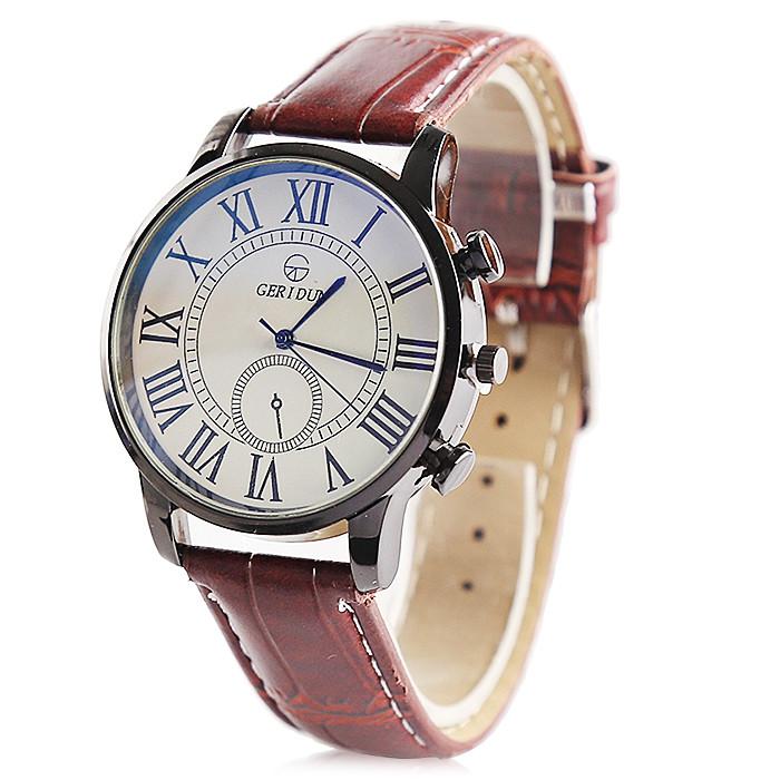 GERIDUN Men Fashionable Comfortable PU Band Wrist Watch KHAKI