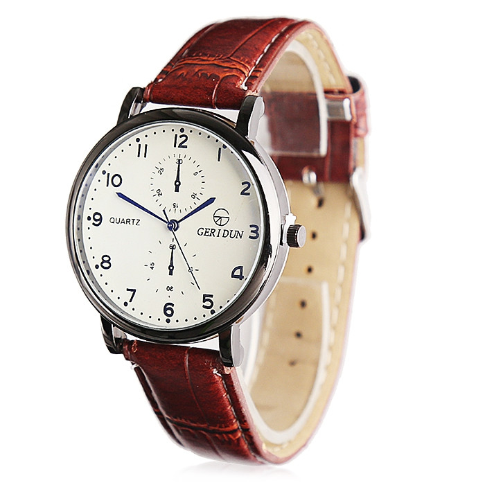 GERIDUN Men Waterproof Comfortable PU Band Wrist Watch KHAKI