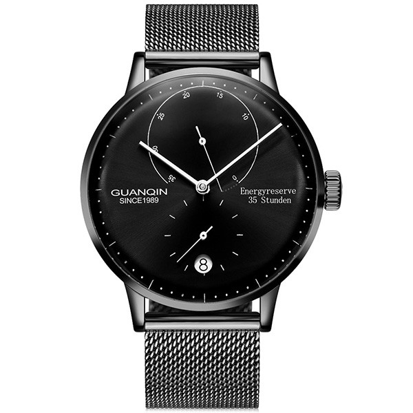 GUANQIN Business Steel Net Band Men Automatic Mechanical Watch FULL BLACK