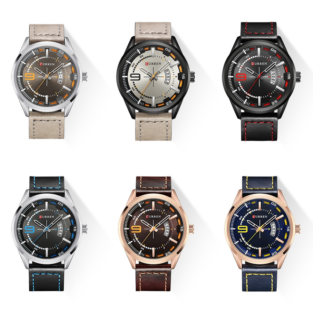 Curren 8295 Male Quartz Movement Watch Leather Strap Date Display Wristwatch MULTI-F