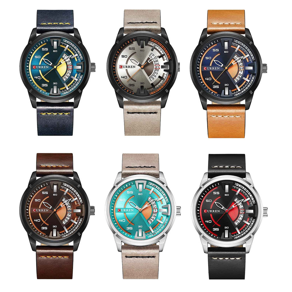 Curren 8298 Male Quartz Watch Calendar Stainless Steel Knit Band Wristwatch MULTI BLACK BAND BLACK DIAL