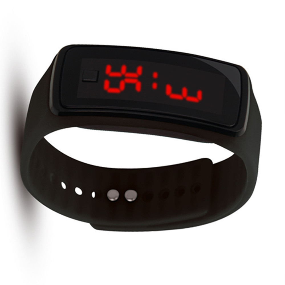 Silicone LED Digital Creative Touch Screen Sport Watch Bracelet BLACK