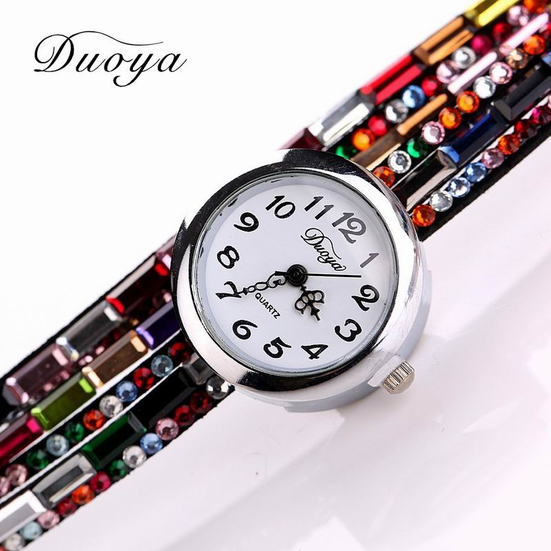DUOYA D011 Women Colorful Rhinestones Quartz Bracelet Wrist Watch COLOR1