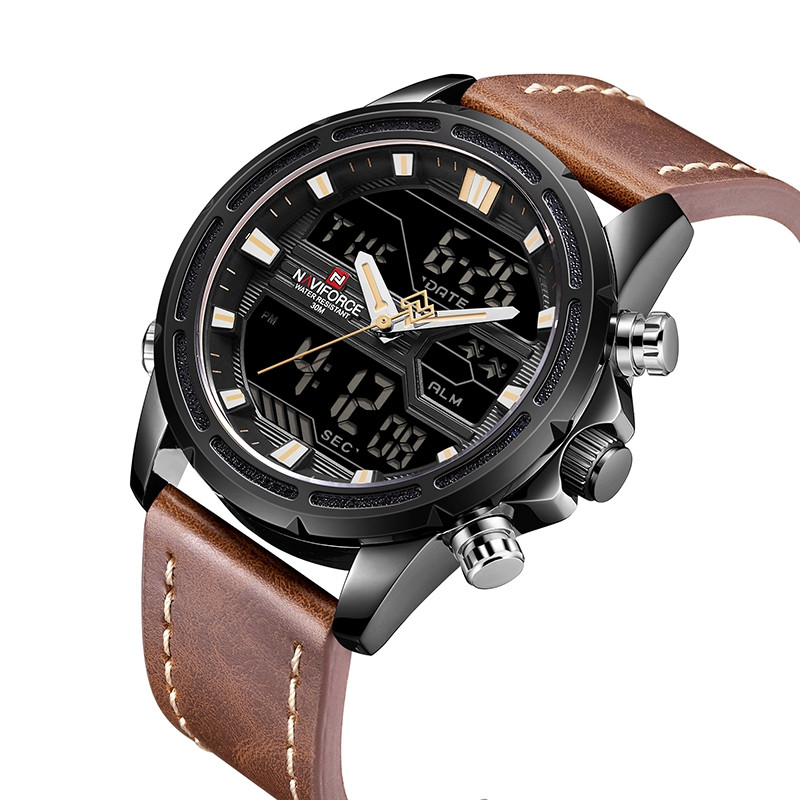 9138 Double Display Business Luminous Date Men's Watch BROWN