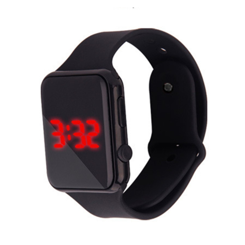 New Fashion Personality Candy Color LED Mirror Silicone Watch for Student BLACK