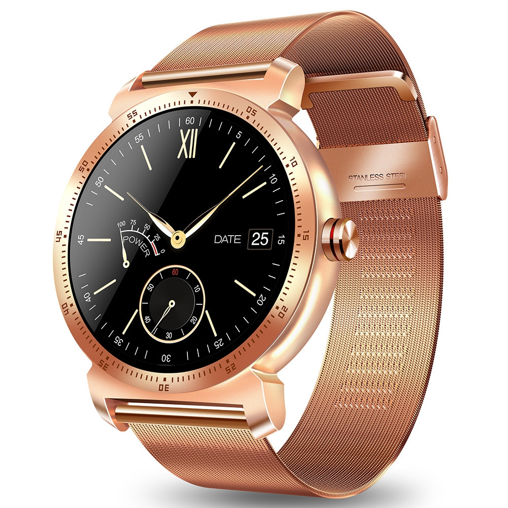 CACGO K88H Plus Smart Bracelet 1.3 inch MTK2502C-ARM7 64MB RAM 128MB ROM Heart Rate Monitor IP54 Waterproof Step Count Sedentary Reminder 300mAh Built-in ROSE GOLD STEEL BAND
