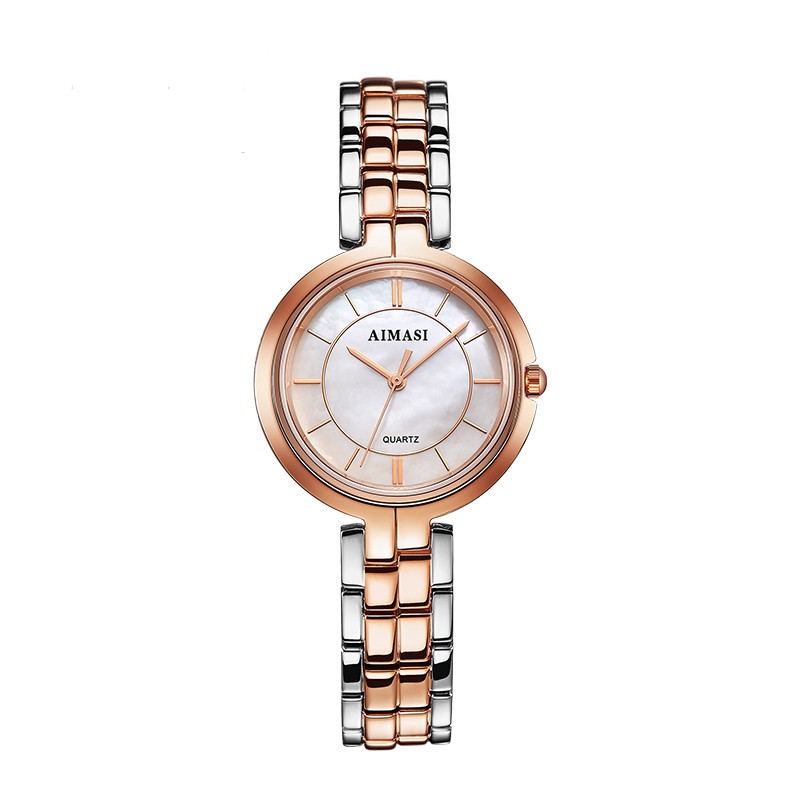 AIMASI 8656 Trendy Stainless Steel Band Women Quartz Watch ROSE GOLD BAND WHITE DIAL