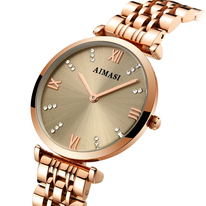 AIMASI 9008 Female Exquisite Watch with Stainless Steel Band GOLDEN BAND GOLDEN DIAL