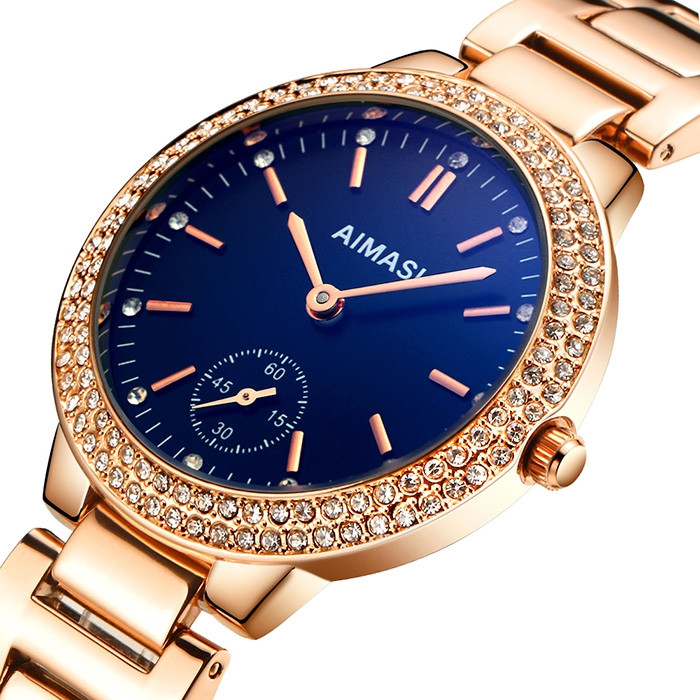 AIMASI 9012 Female Exquisite Watch with Stainless Steel Band SAPPHIRE BLUE